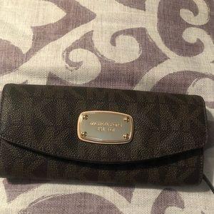MK brown printed wallet